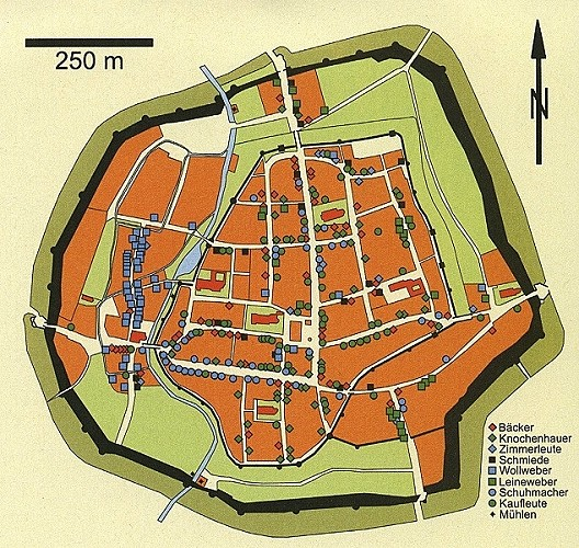 Der Stadtplan von Göttingen im späten Mittelalter mit den nachweisbaren Standorten für städtische Handwerker.
