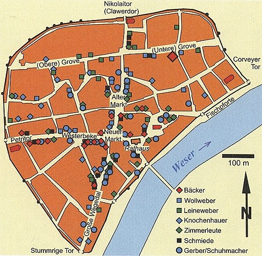 Der Stadtplan des mittelalterlichen Höxter im späten Mittelalter mit den nachweisbaren Gewerben.