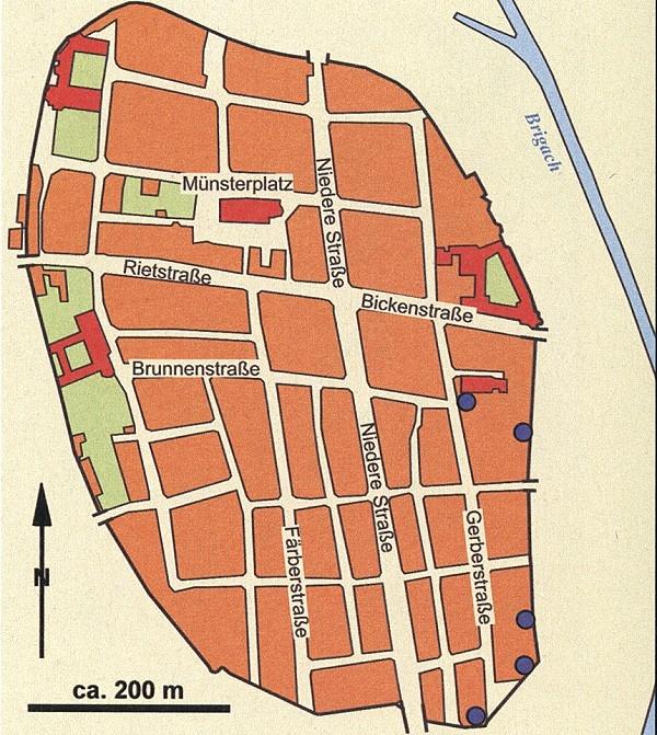 Villingen im späten Mittelalter mit den nachgewiesenen Standorten von Gerbereien.