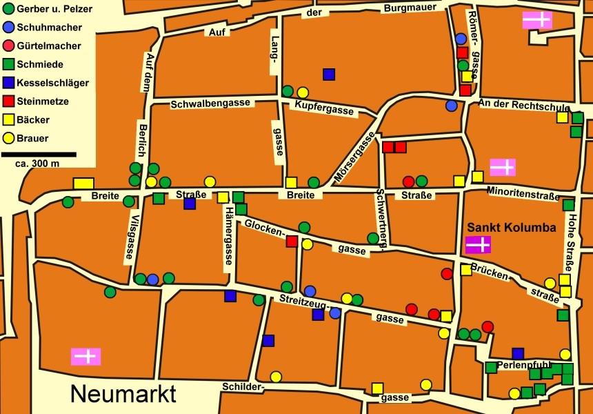 Straßenplan des Kirchenspiels St. Kolumba in Köln mit den nachweisbaren Standorten der Handwerker im Jahr 1286.
