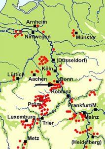 Karte mit dem Besitzungen des Klosters Prüm im Mittelalter.