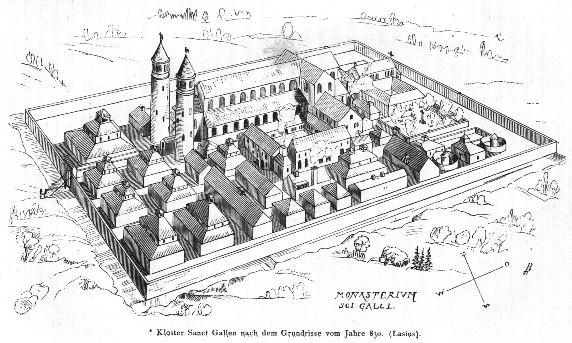 Zeichnerische Umsetzung vom Klosterbau von Sankt Gallen.