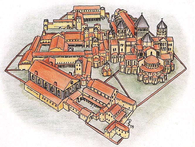 Rekonstruktion vom Klosterbau Cluny im 12. Jahrhundert von Osten gesehen.