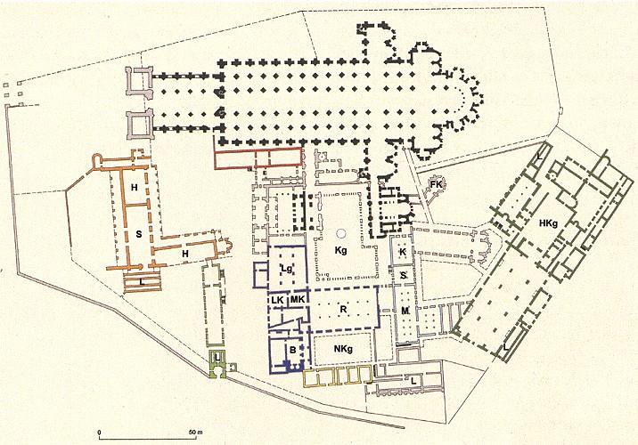 Grundriss des Klosters Cluny in seiner größten Ausdehnung.