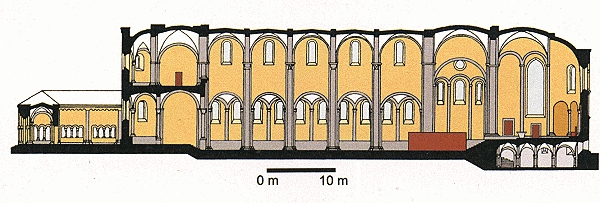 Längsschnitt durch den Innenraum der Kirche des Klosters Maria Laach.
